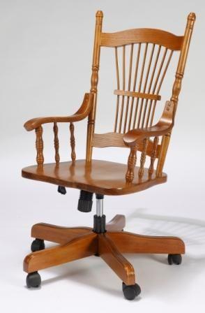 Bürostuhl mit Pfauenschwanz Desing an der Rückenlehne