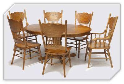 Landhaus runder Esstisch mit Stühlen mit geschnitzter Rücklehne