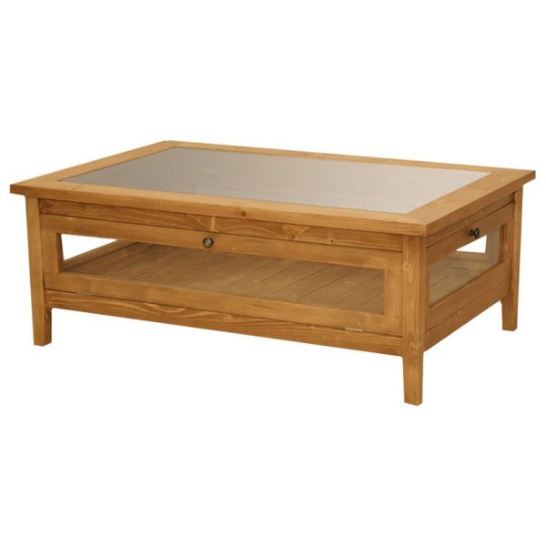 Nantucket #205 Glass Top Rectangular Coffee Table