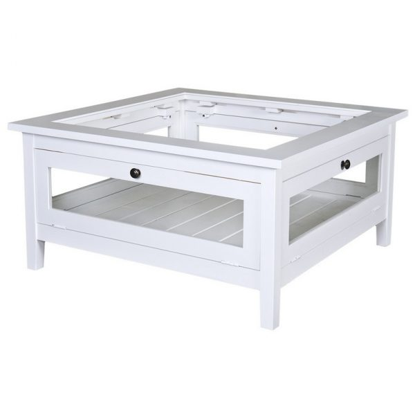 Nantucket #93 Glass Top Square Coffee Table